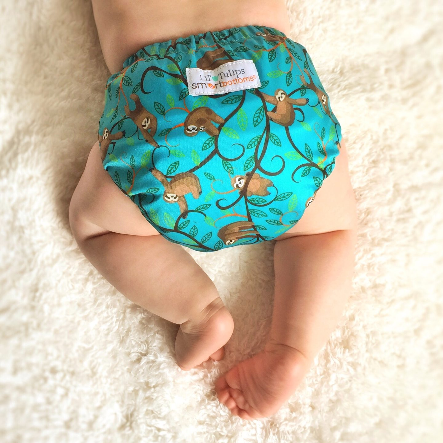 Reusable nappies fun print with sloths