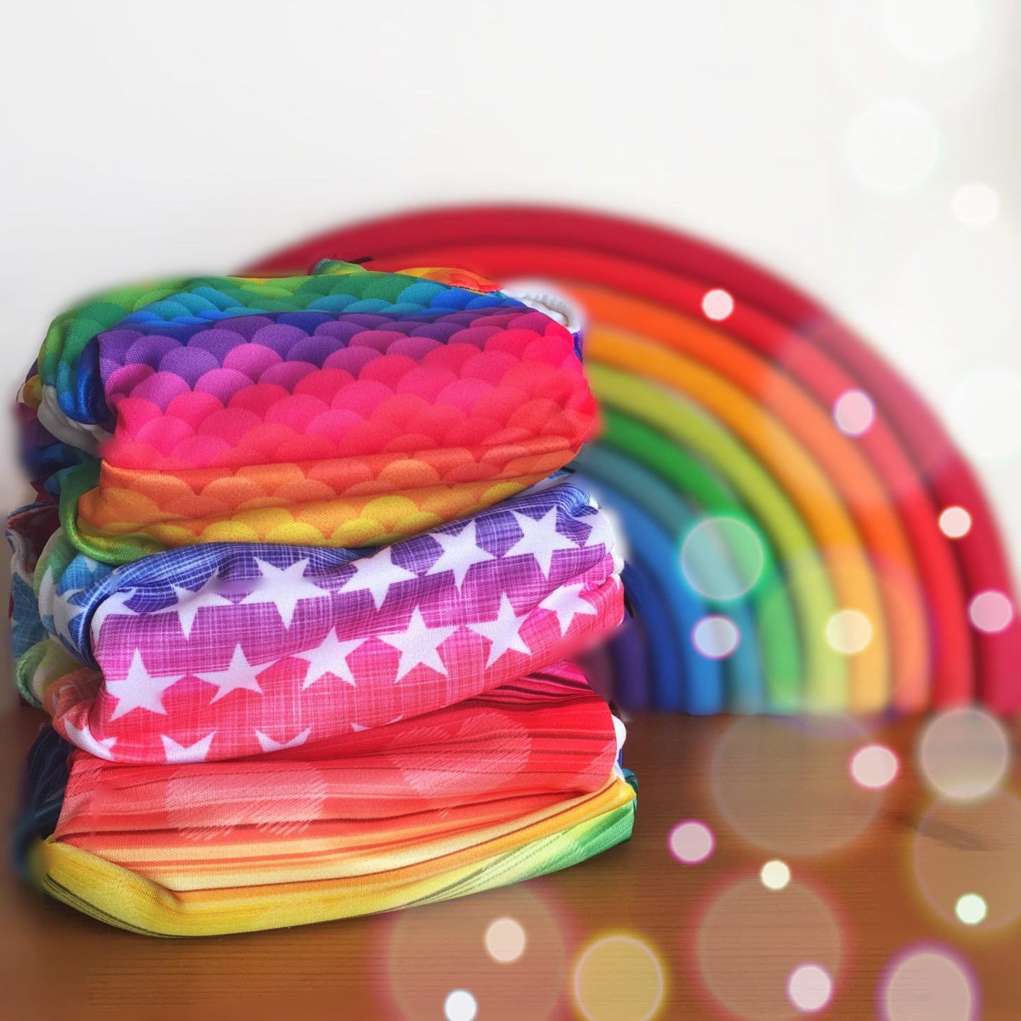 Reusable cloth nappies rainbow colours