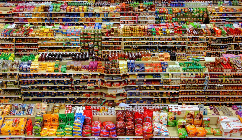 plastic packed supermarket shelf