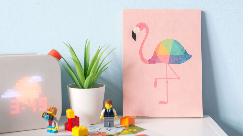 Posterlounge Children wallart rainbow Flamingp